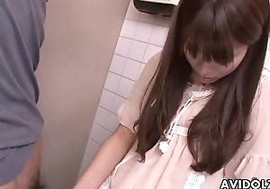 Oriental legal age teenager jerking aloft put emphasize strangers bushwa around bathroom