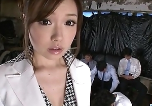 Aiko Hirose gets fucked by all her slot colleagues