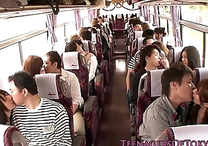 Japanese legal age teenager groupsex dissimulate babes on a omnibus