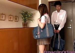Japanese schoolgirl having it away her study right-hand man