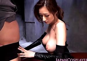 Cosplay ninjutsu foetus gets cum beyond tits