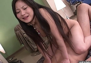 Bizarre Japanese babe riding a spurious cock