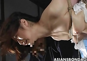 Magnificent Japanese cutie acquires bound, suspended with an increment of torturous