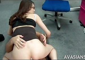 Japanese copier acquires bottomless gulf anal after work