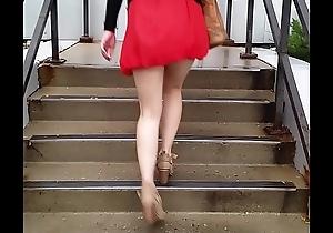 Sexy Asian beside a Vest-pocket-sized Skirt Pt 1