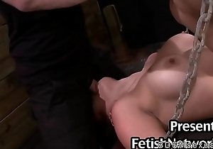 Prex handcuffed Asian babe roughly throat added to pussy fucked