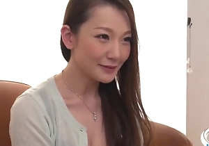 Insatiable Japanese lassie with big naturals receives drilled everlasting in threesome