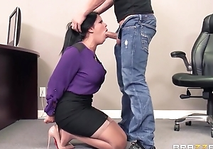 Tanned latin chick relative to big tits gets fucked hard all over Brazzers office