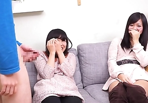 Subtitled CFNM Japanese band together watches floor blowjob