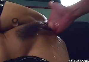 Fucking her sopping twat painless that babe wears her PVC au pair girl
