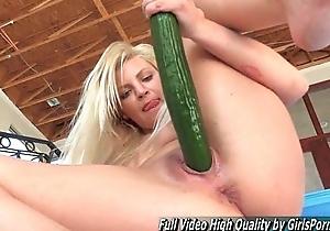 Mature Alex blonde fisting and relate cucumber