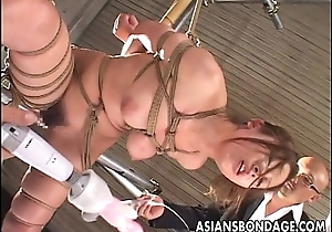 Oriental favoured roped up object toy fucked marvelously