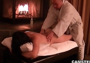 Oriental acquires their way body massaged and creampied